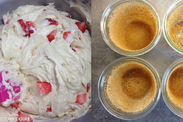 Erdbeer kuchen im glas