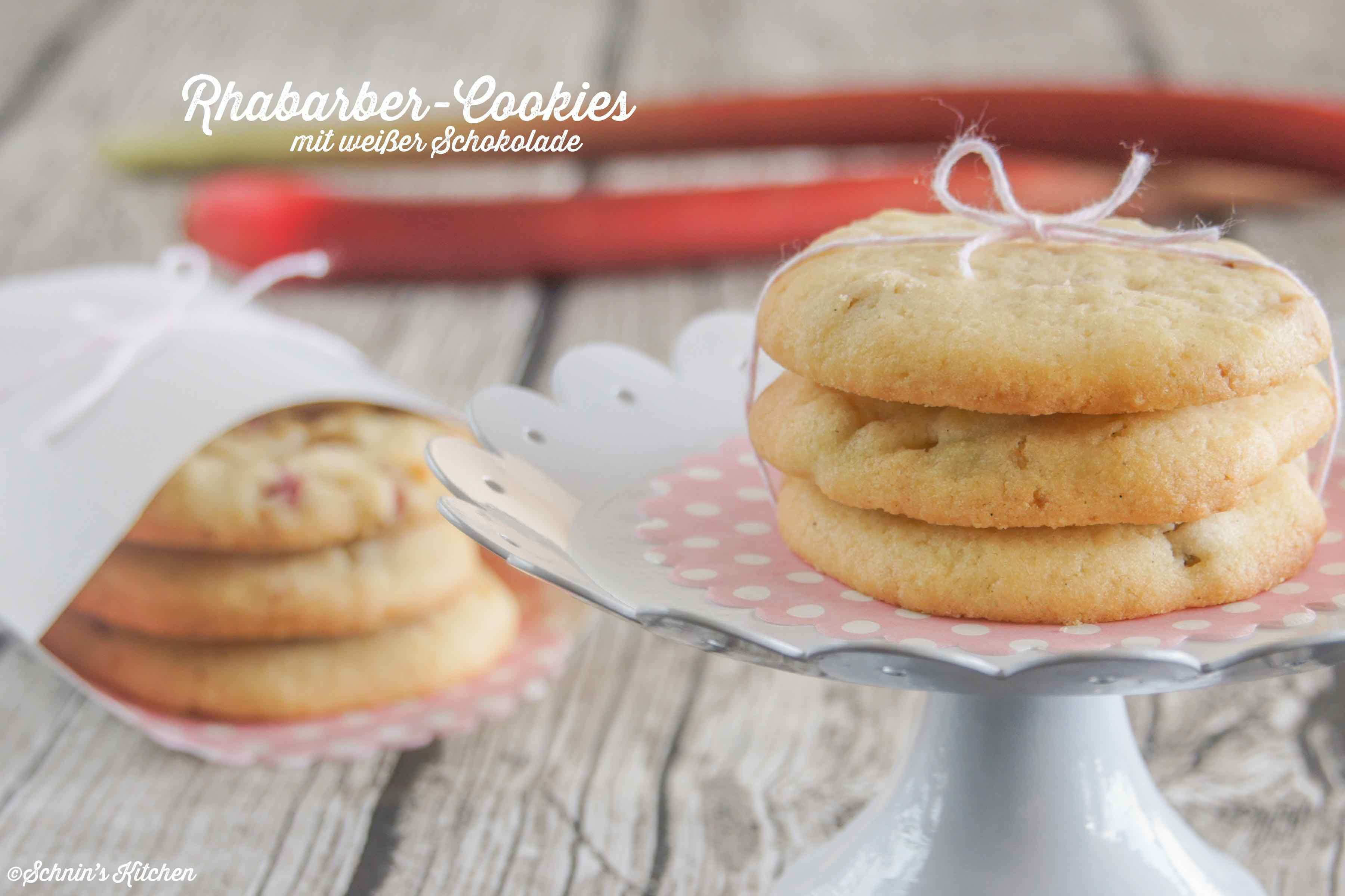 Rhabarber-Cookies mit weißer Schokolade