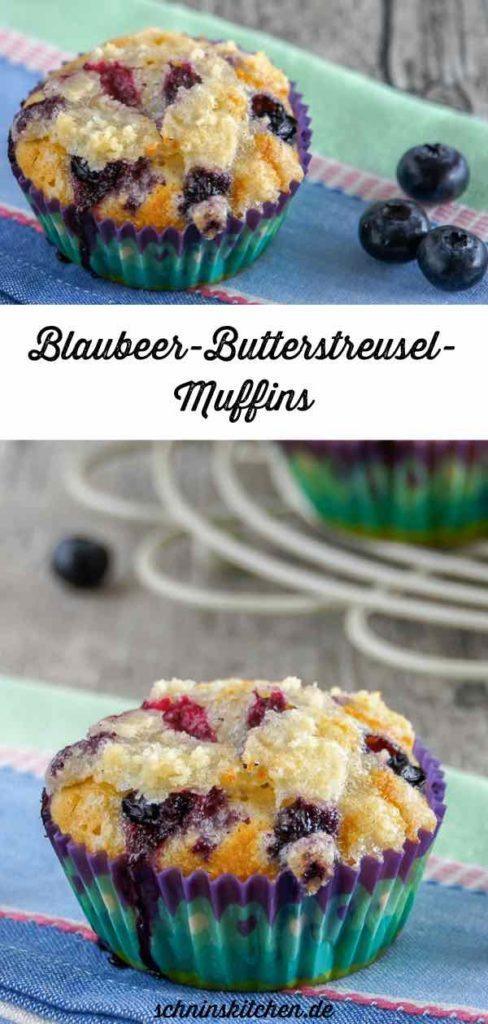 Blaubeermuffins mit knusprigen Butterstreuseln gebacken - das leckerste Rezept mit fluffigem Teig und saftigen Blaubeeren | www.schninskitchen.de