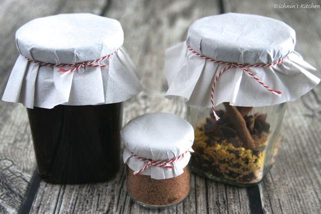 Schnin's Kitchen: Adventswichteln - 3. Lebkuchen-Kirsch-Gelee, Glühwein-Gewürz & Apfel-Zimt-Zucker