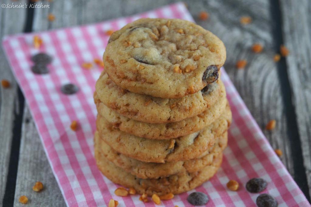Schnin's Kitchen: {Keks-Liebe} Chocolate-Chip-Cookies mit crunchy Erdnüssen