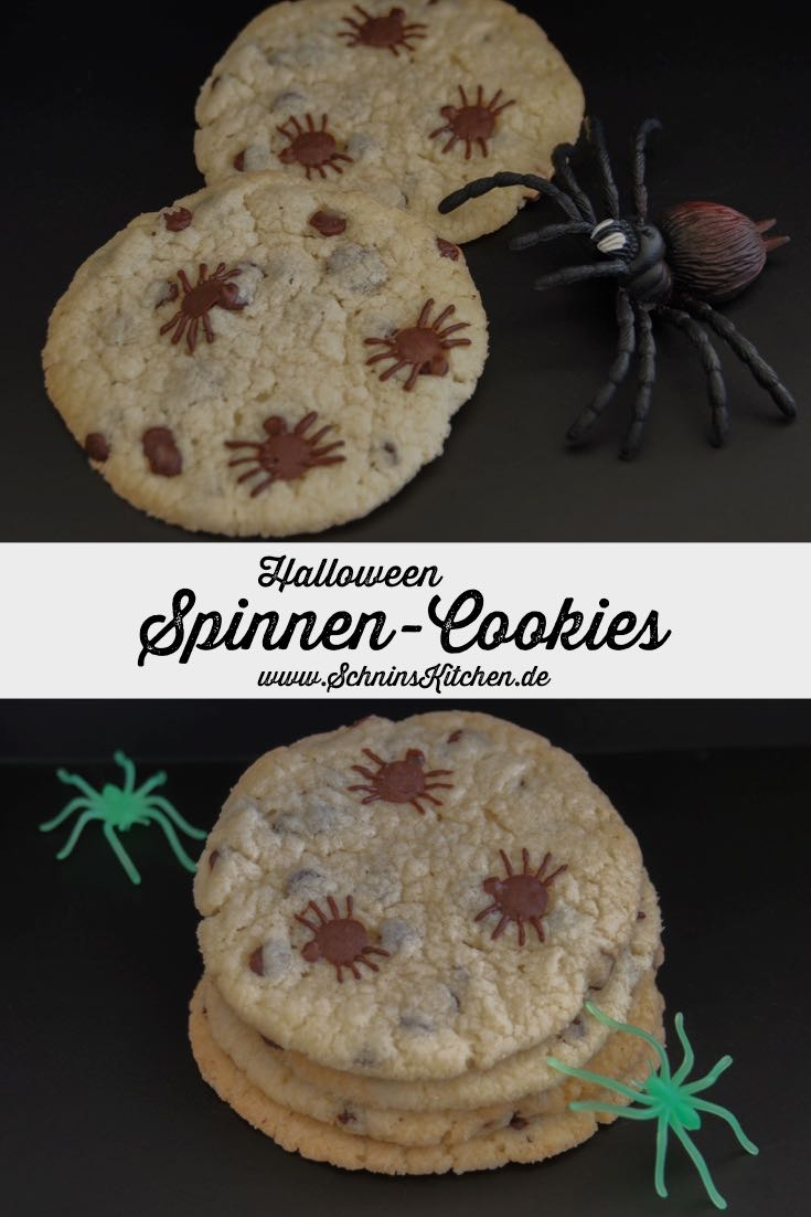 Schnin's Kitchen: Spinnen-Cookies mit Chocolate Chips zu Halloween