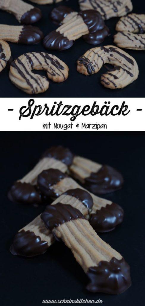 Klassisches Spritzgebäck verfeinert mit leckerem Nougat und Marzipan, Schokolade und Amaretto - ein Rezept für Weihnachtplätzchen | www.schninskitchen.de