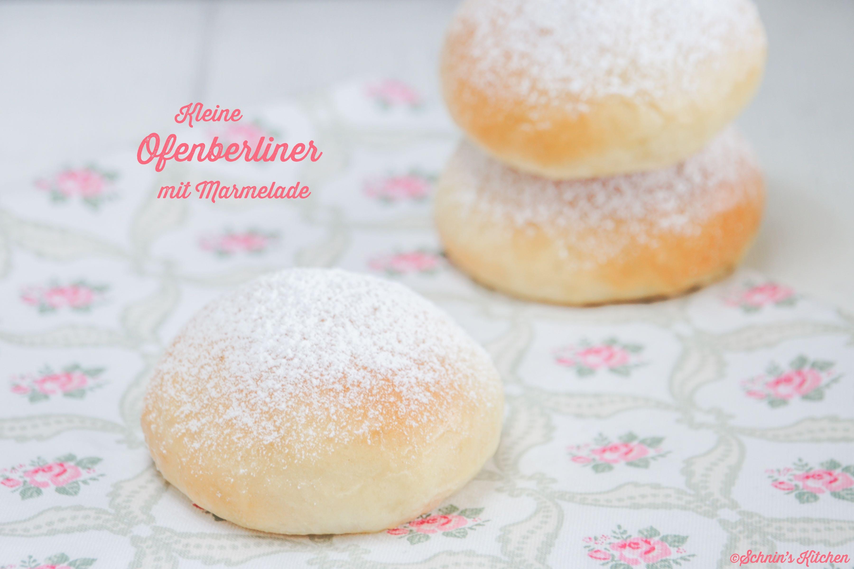 Fluffige, kleine Ofenberliner mit leckerer Marmelade: im Ofen gebackene Mini-Berliner, ohne Frittieren, schön fluffig und leicht, lecker gefüllt mit Marmelade. | www.schninskitchen.de