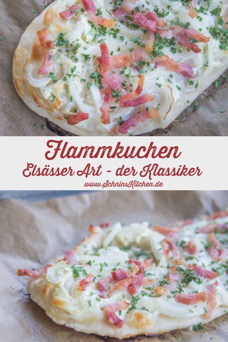Schnin's Kitchen: Flammkuchen Elsässer Art - der leckere Klassiker mit Sauerrahm, Speck und Zwiebeln