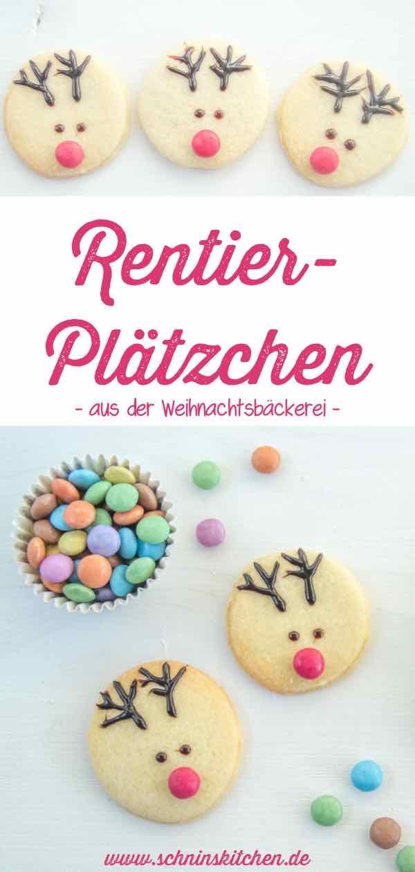 Süße Rentier-Plätzchen - mit Schokoschrift und Smarties schnell verziert - www.schninskitchen.de