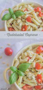 Nudelsalat Caprese mit Tomaten, Mozzarella und frischem Basilikum   www.schninskitchen.de