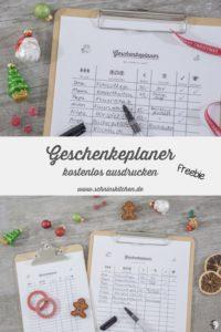 Geschenkeplaner für Weihnachten - Freebie | www.schninskitchen.de