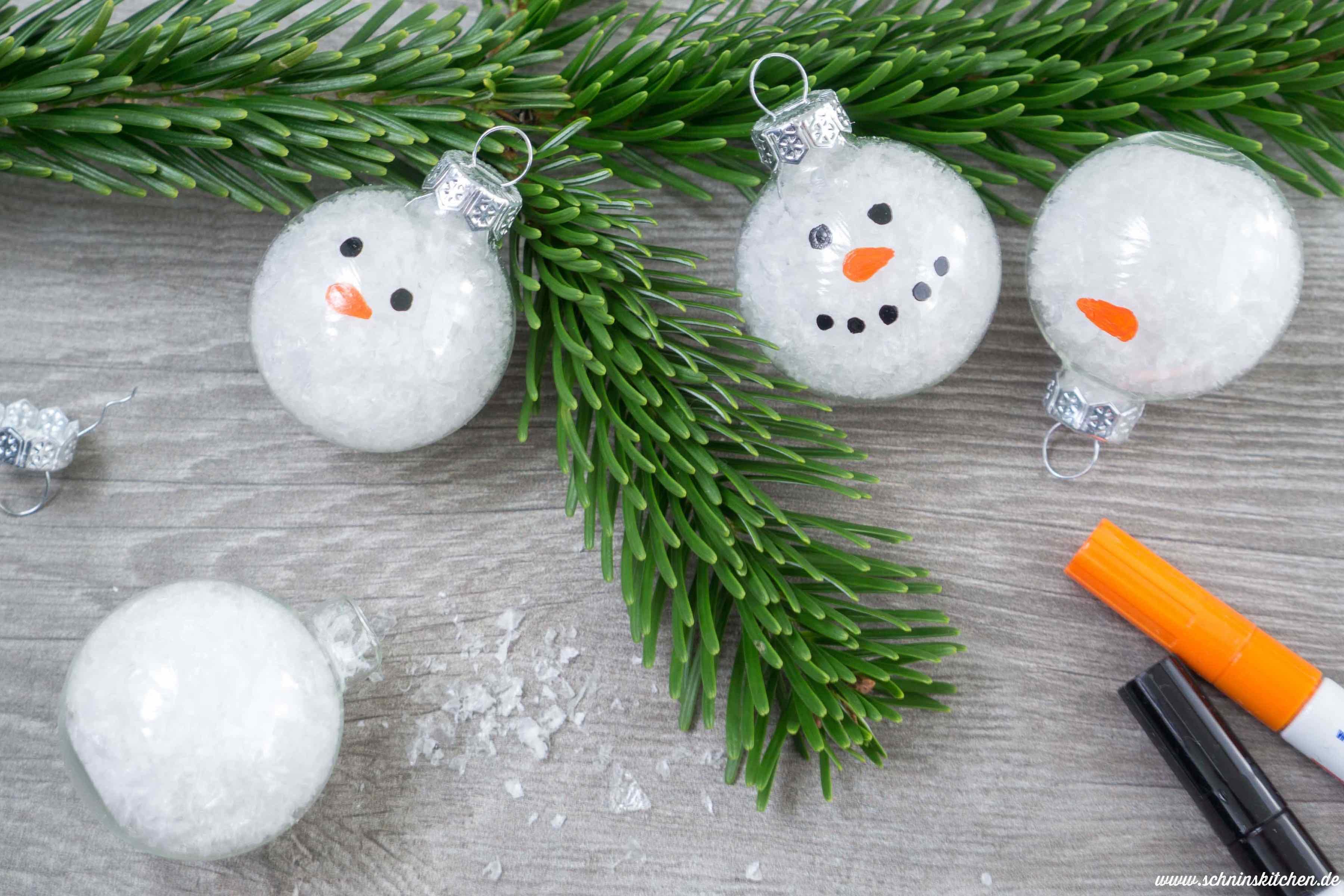 Schneemann Weihnachtskugeln Basteln Schnins Kitchen