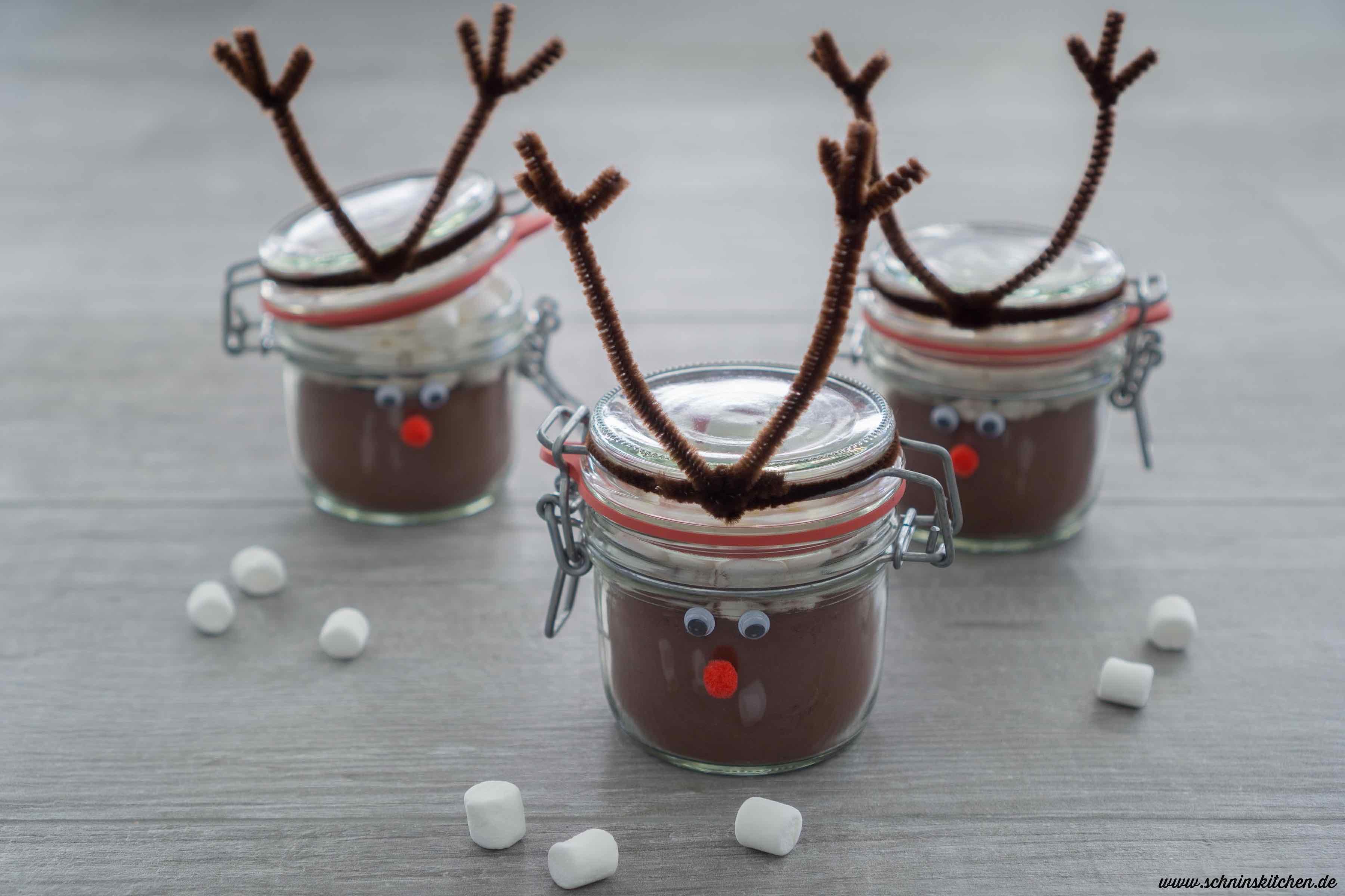 Weihnachtskakao selber machen im Rentierglas