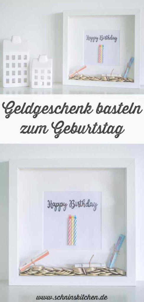 DIY Geldgeschenk zum Geburtstag basteln im Bilderrahmen. | www.schninskitchen.de