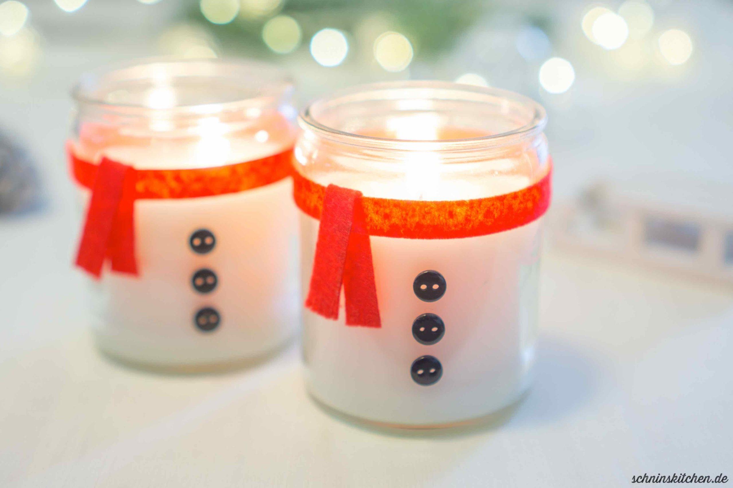 Schneemannkerze basteln: eine schnelle DIY Geschenkidee zu Weihnachten (optional mit Upcycling und Anleitung zum Kerzengießen) | www.schninskitchen.de